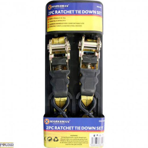 2pc Ratchet Tie Down Set
